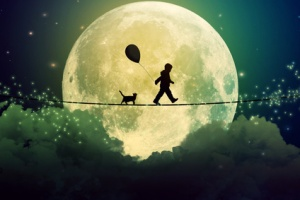 Happy boy teenager and cat walking with balloon on a tight rope above clouds with moonlight moon background. Happiness care free concept. Elements of this image furnished by NASA