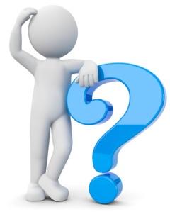 3d Männchen nachdenklich mit blauen Fragezeichen